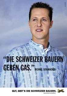 Werbekampagne des Schweizerischen Bauernverbandes: Michael Schumacher (c) SBV