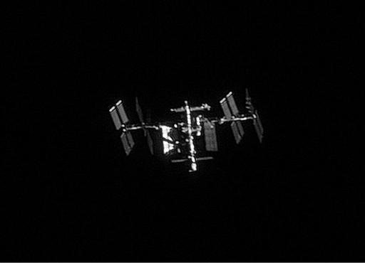 International Space Station ISS: Videosequenz von etwa 200 Bildern, davon ca. die besten 50 ausgewählt, 180mm Refraktor mit 6 m Brennweite, Montierung durch Eingabe der Bahndaten nachgeführt (Foto: Marcel Süssli).