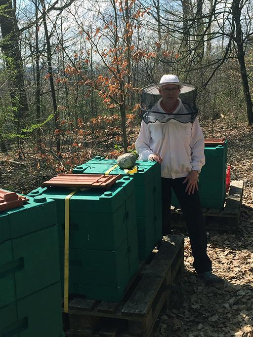 Monika Jaus: Arbeit auf dem Bienenstand