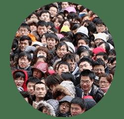 Die Menschendichte in China ist x-Mal grösser als in der westlichen Welt