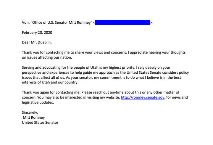 Reply from U.S. Senator Mitt Romney to an executive correspondence with Xecutives.net