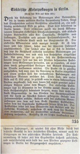 Bericht über Elektrische Motorpostwagen der deutschen Reichspost in Berlin, aus dem Jahr 1905