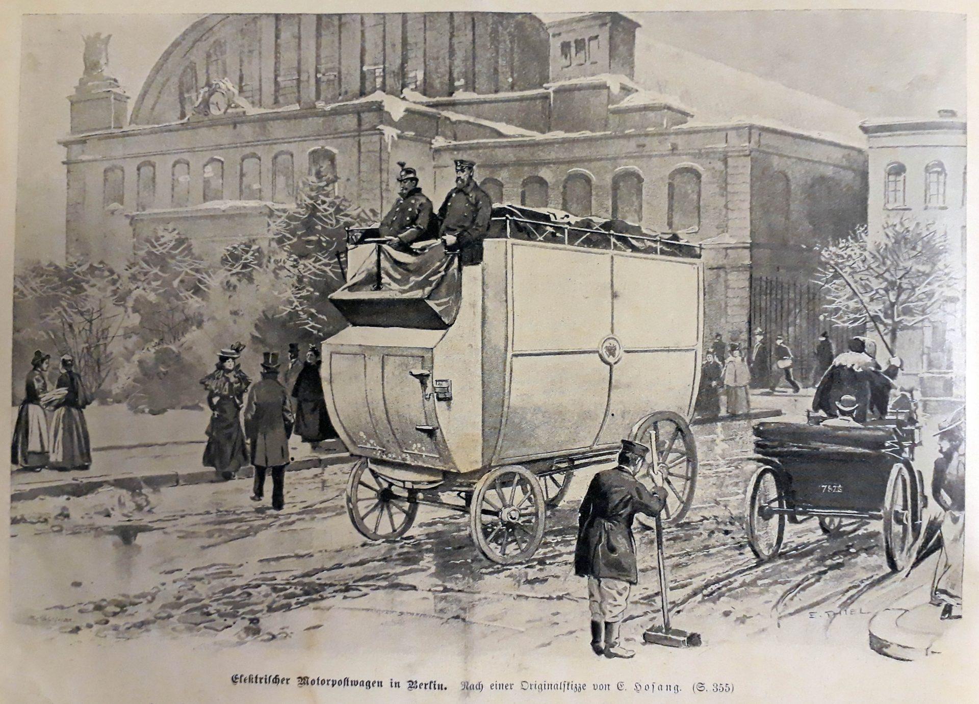 Elektrischer Postwagen der Deutschen Reichspost – Electric motor mail car in Berlin