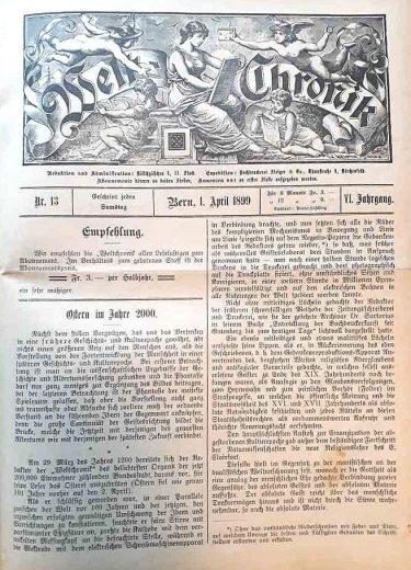 In der Welt-Chronik Nr. 13 aus dem Jahr 1899, als ein Redakteur 100 Jahre in die Zukunft schaute