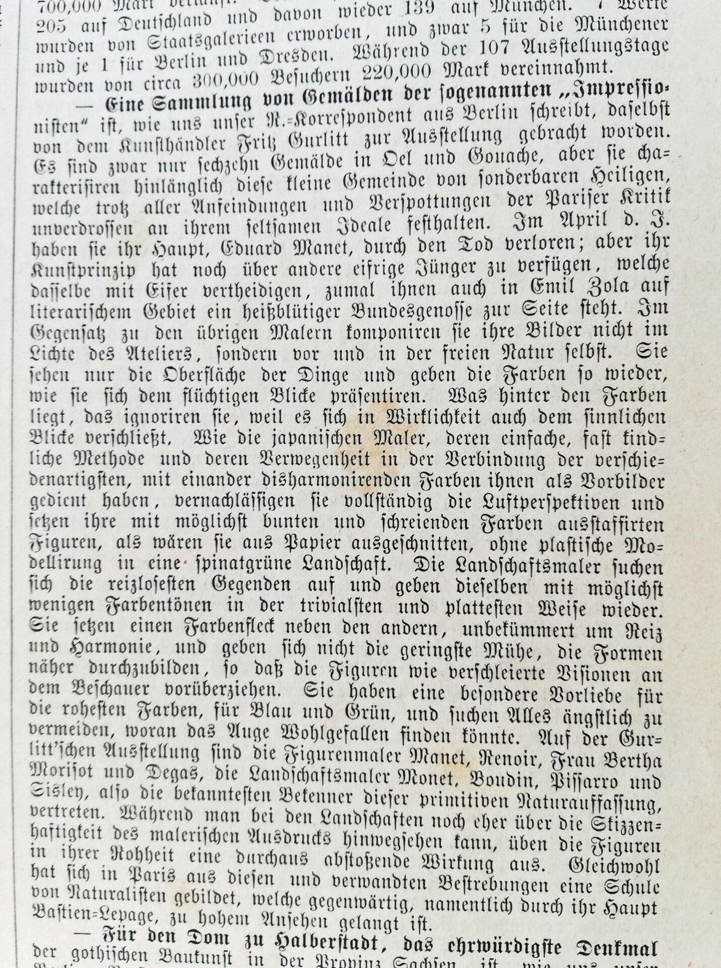 """Artikel über Impressionismus in der"""" Allgemeine Illustrierte Zeitung"""" 1883"""