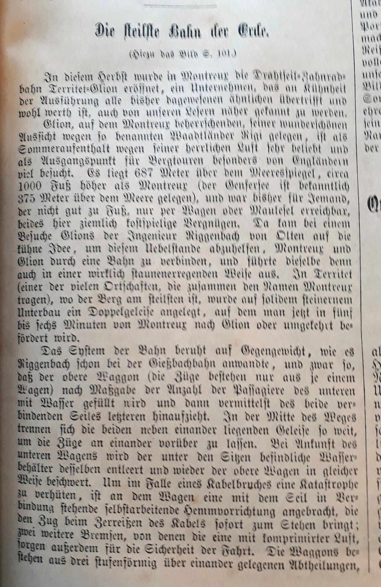"""Artikel """"Allgemeine Illustrierte Zeitung» von 1883/1884 über """"steilste Bahn der Erde"""""""