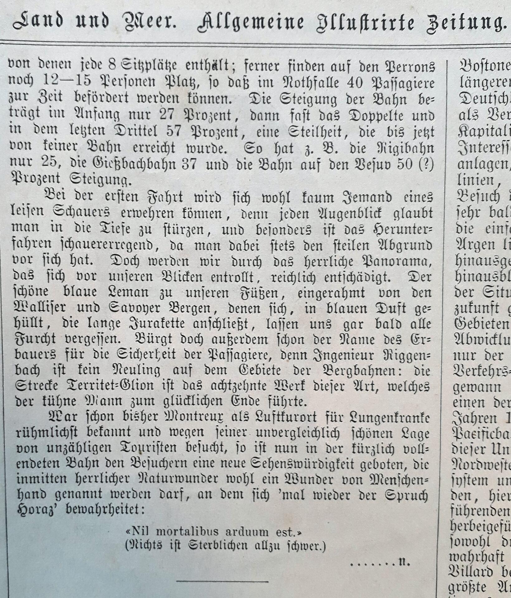"""2.Teil Artikel in der """"Allgemeine Illustrierte Zeitung» 1883/1884 über """"Die steilste Bahn der Erde"""""""