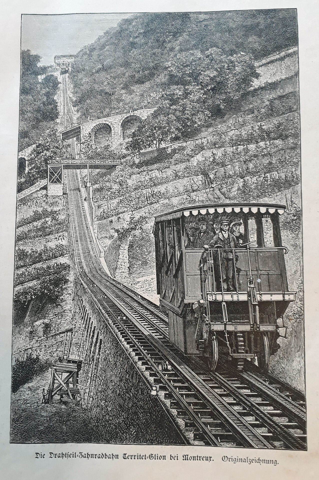 Original-Zeichnung der Drahtseil-Zahnradbahn Territet-Glion bei Montreux 19.Jahrhundert